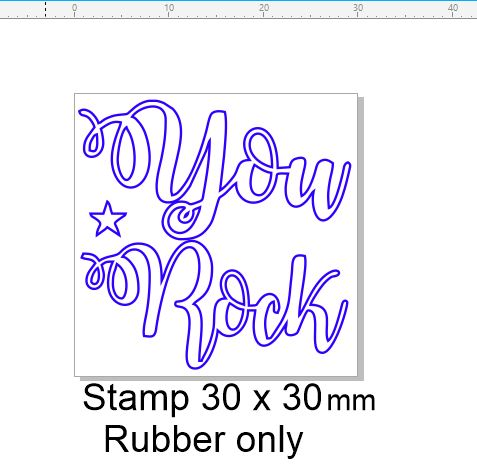 You Rock   stamp 30 x 30 mm sentiment stamp RUBBER ONLY